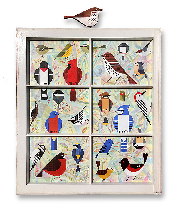 scott partridge - bird wondow - acrylic painting - commission
