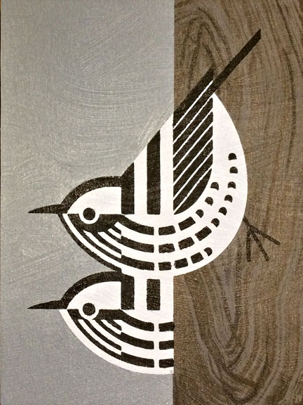 scott partridge - art inventory - black and white warbler painting